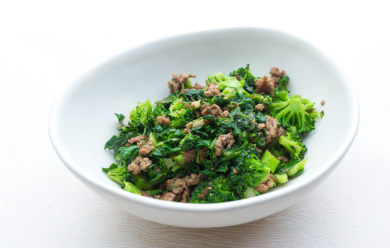Keto green stir fry with ground beef