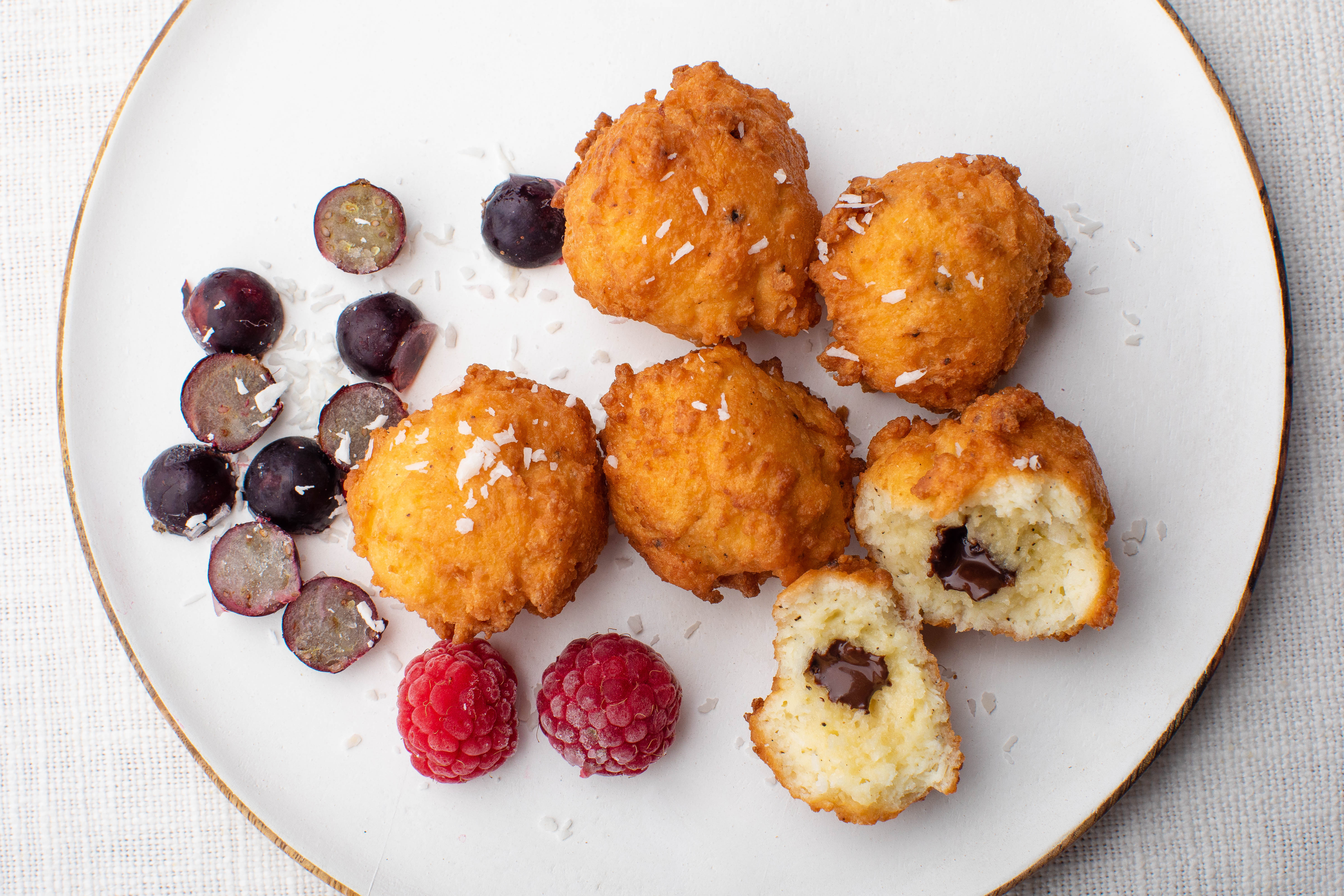 Fried keto coconut puffs